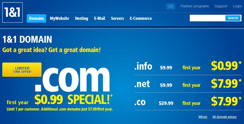 1and1 Domain Registration